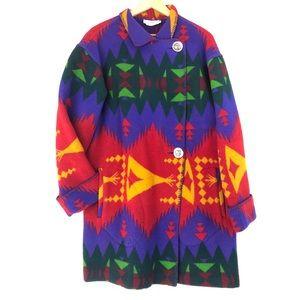 VINTAGE NEIMAN MARCUS Oversized Aztec Wool Coat